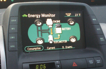 Hybrid vehicle interior display