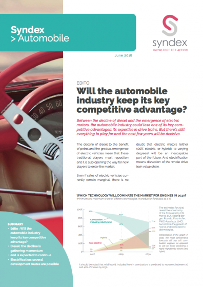 Syndex Automotive n°11 - Will the automobile industry keep its key competitive advantage?